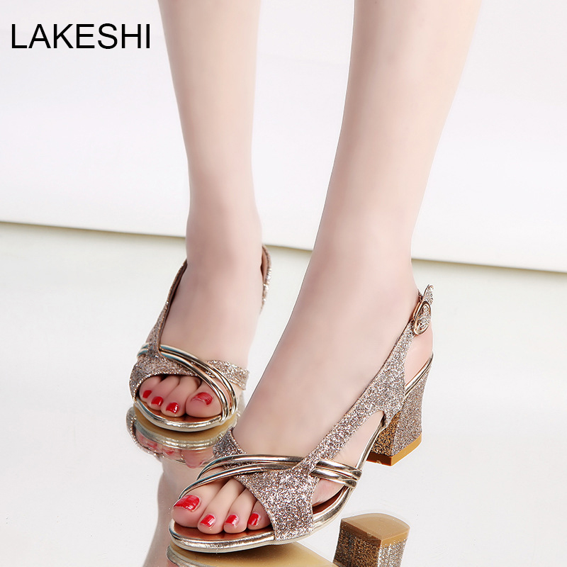 3ecb940b3264b LAKESHI Women Sandals High Heels Open Toe Women Ankle Wrap Sandals  Beautiful Ladies Sandals Summer Shoes Gold Sliver-in Women s Sandals from  Shoes on ...