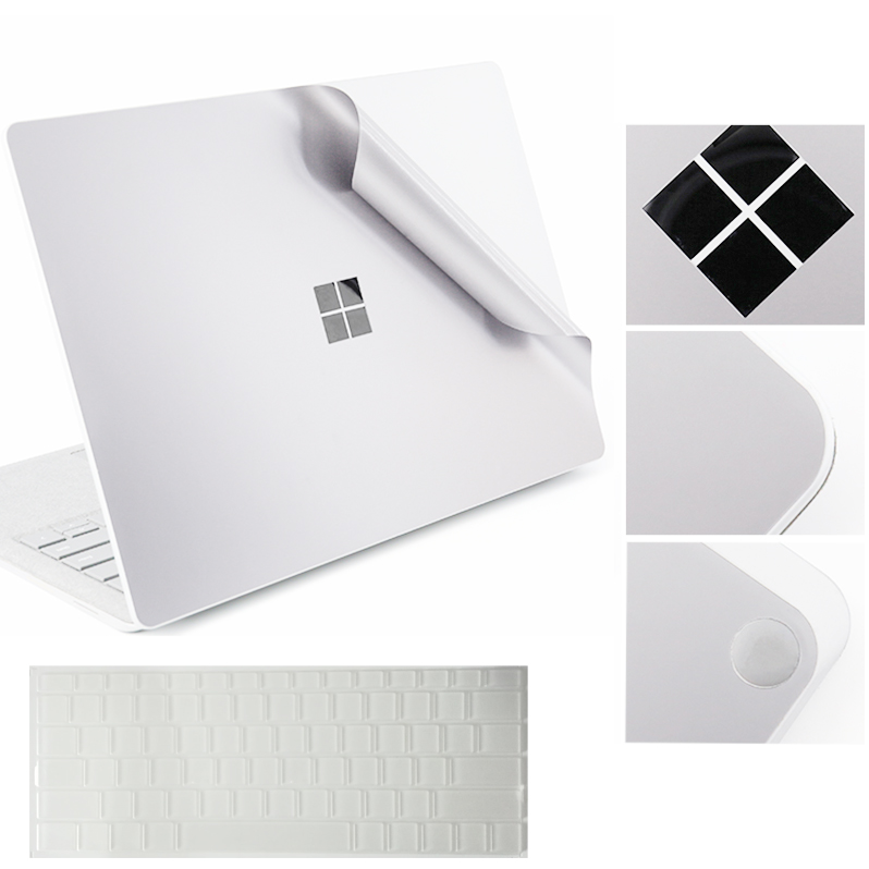 For Microsoft Surface Laptop Body Decal With Protective TPU Keyboard Skin Precise Fit Cover Laptop Sticker Full Protector Silver