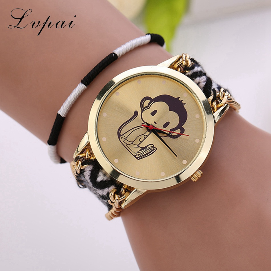 Lvpai Brand Women Fashion Casual Vintage Sport Wristwatch Chinese Style Handmade Braided Monkey Ladies Dress Quartz Watch LS037