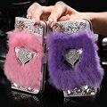 Fox cabeça kisscase para iphone 6 6 s glitter diamante fique couro flip case para iphone 6 6 s cartão slots bolsa real da pele do coelho capa