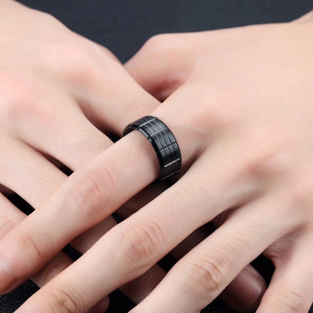 Full Balck Stainless Steel Rings For Men With Groove Design 6mm ...