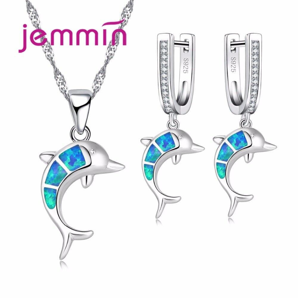 Jemmin Brand Dolphin Design 925 Sterling Silver Opal