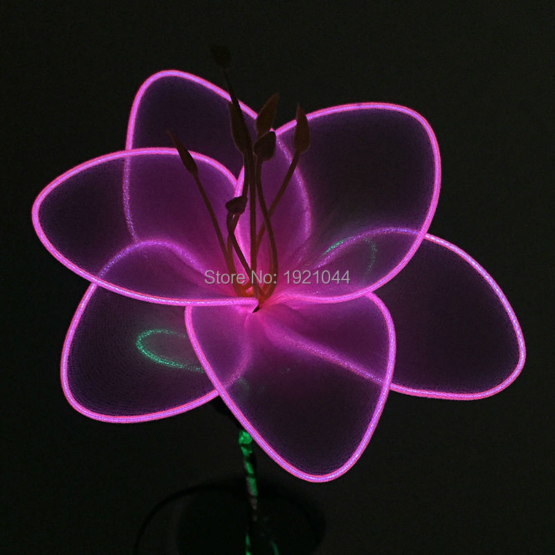 High-grade EL Wire Flower LED Pink Lily Battery LED Fairy Light flower String Decoration nightlight for child gift Party Wedding