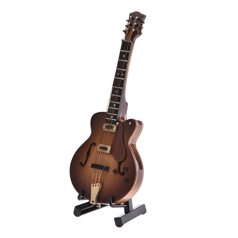 Upgraded Version Mini Electric Guitar Miniature Musical Model Orange Vision Enjoyment Wood Strings Instrument