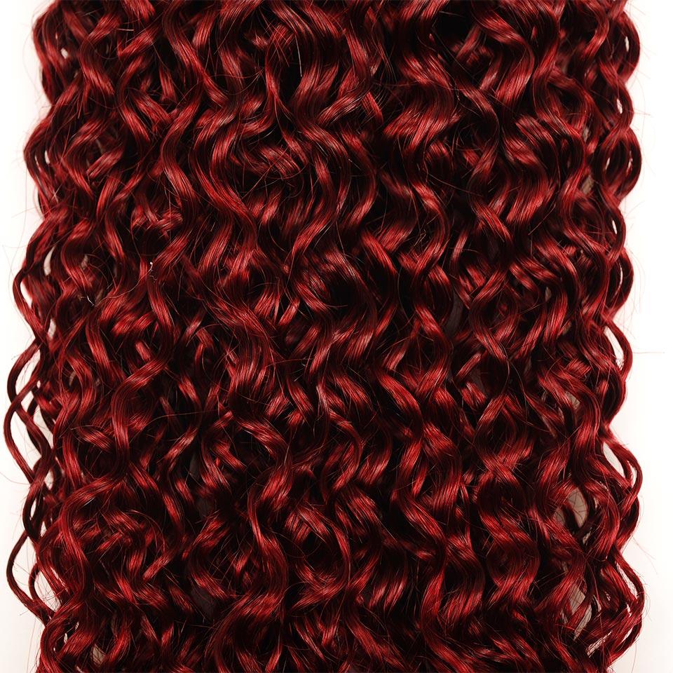Pinshair Vet Rood Bourgondië 99J Braziliaanse Jerry Curly Menselijk - Schoonheidsproducten - Foto 4