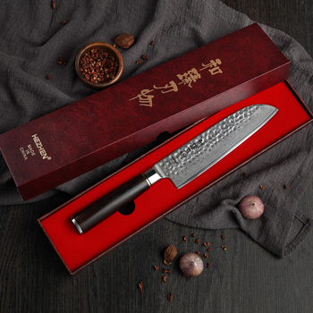Kitchen Knives Brand 7 inch Santoku Knife Japanese VG10 Damascus Steel Kitchen Cook Knife New Design with Ebony Handle