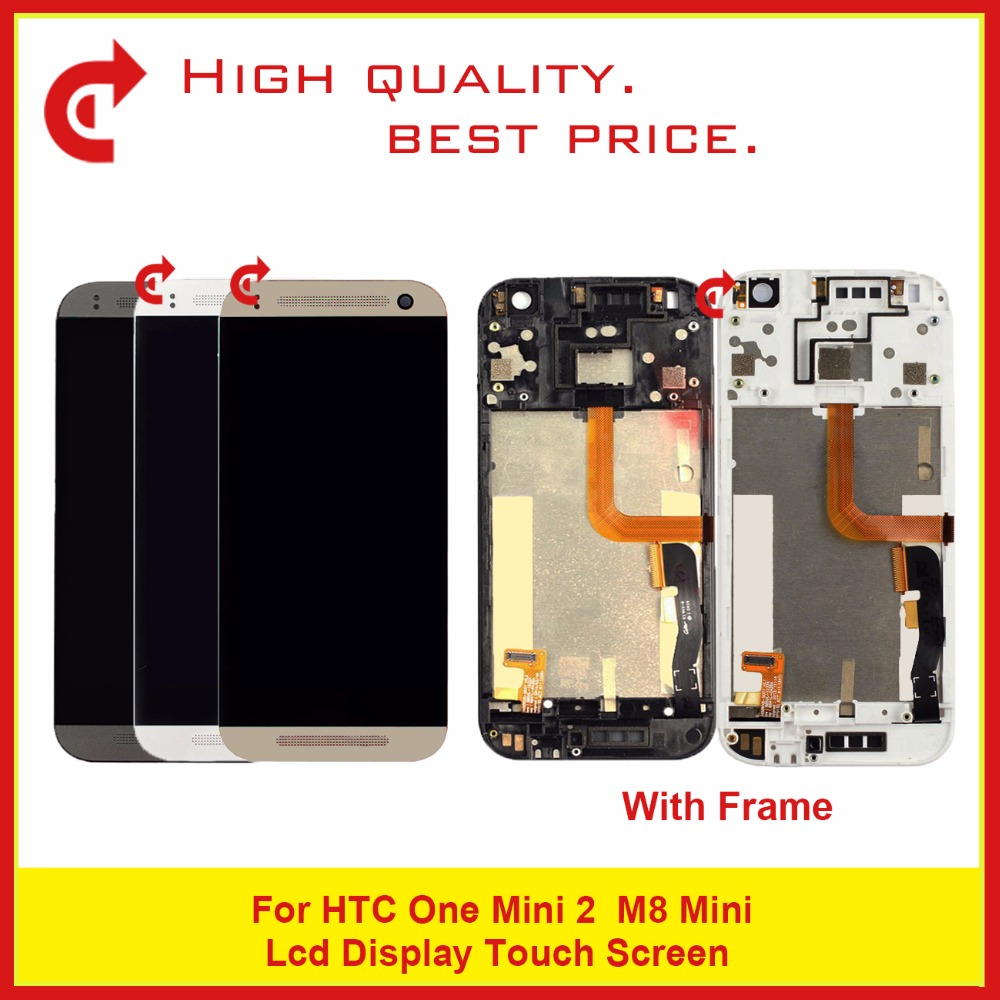 High Quality 4.5 For HTC One mini 2 M8 mini LCD Display With Touch Screen Digitizer Sensor Panel With Frame Free Shipping