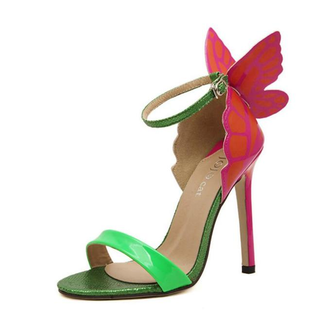 Explosion Models 2016 NEW Women  Sophia Webster Colorful Butterfly Heeled Sandals Pumps 11.5 cm Thin Heel Peep Toe Shoes