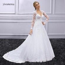 vestido de novia trouwjurk Long Sleeves Wedding dress 2018 robe de mariee Bridal Dress With Lace Appliques Beaded wedding gowns