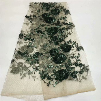 Emerald green African Lace Fabric 2019 High Quality African Tulle Lace Fabric With nice Sequins French Net Lace For Women Dress