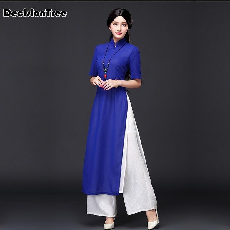 2017 musim panas vietnam ao dai pakaian tradisional Cina cina pakaian - Pakaian kebangsaan - Foto 4