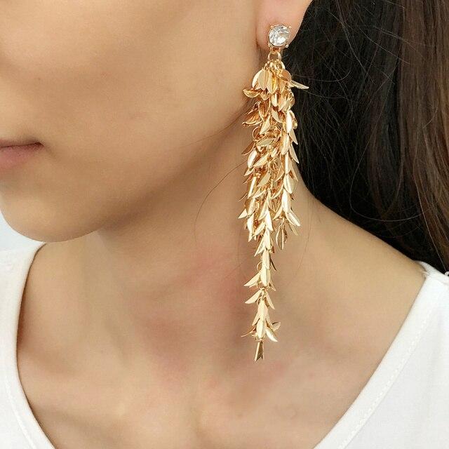 42628992705e MANILAI de lujo cobre hojas de Metal cadena borla pendientes joyería de moda  las mujeres hecho
