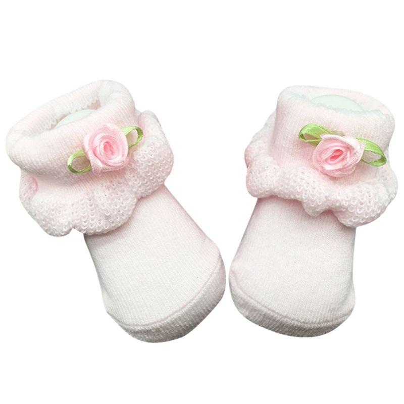 Chaussettes bébé nouveau-né coton garçon fleur mois dentelle fille doux nouveau-né infantile cheville 0 ~ 6 chaussettes bébé