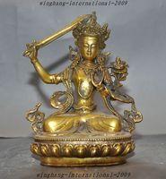 Crafts statue Tibet Buddhism Temple Bronze Gilt Manjushri Kwan yin Tara Wenshu Goddess Statue halloween