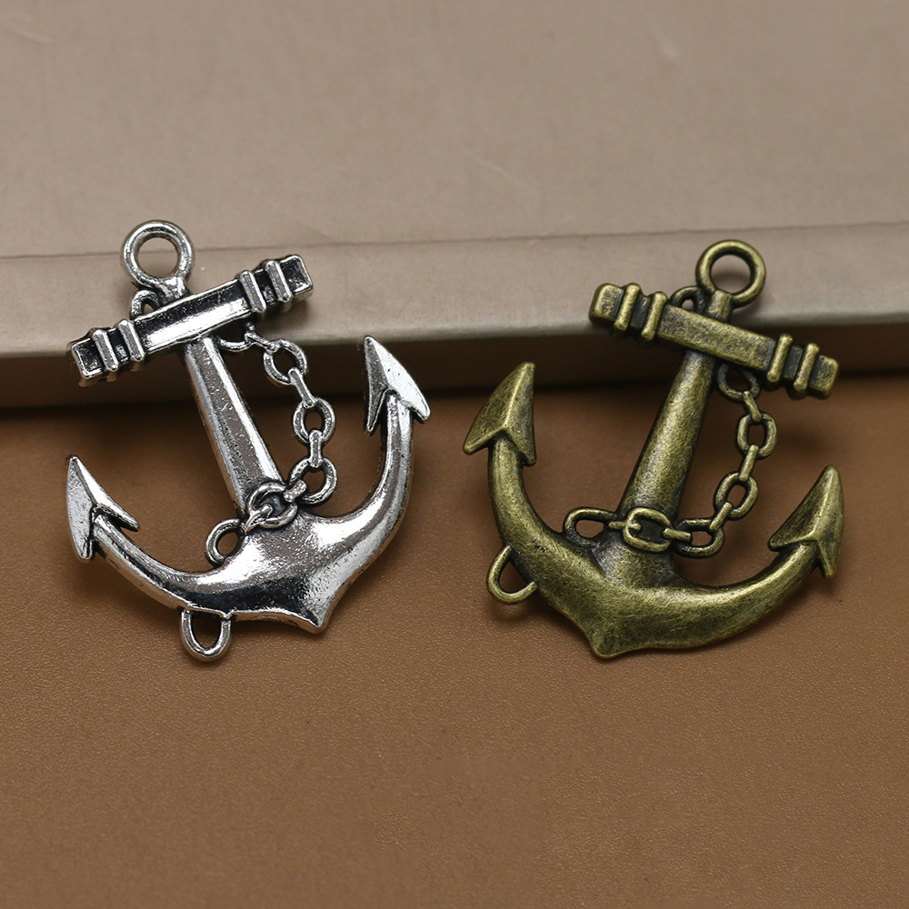 ANGRLY 10pcs 31*27mm Have Hook Up Alloy Alloy Pirate Decoration Anchors Folk-custom Handmade Accessories Christmas Party Gifts