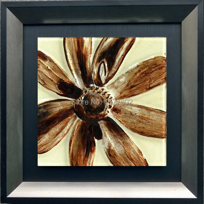 Wholesale Handpainted Framed Flower Glass Painting Designs Home Art For Bedroom Wall Decor In
