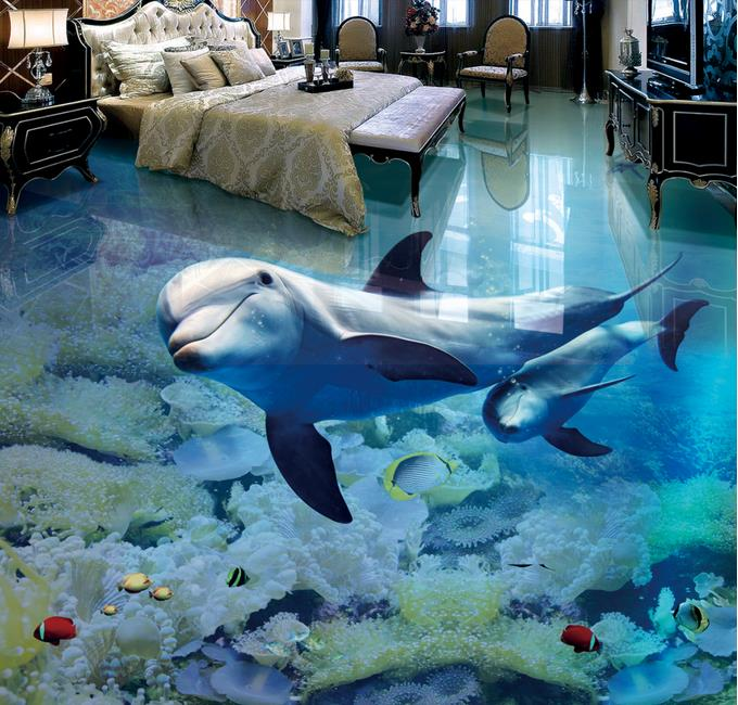 цены custom 3d floor dolphin 3d stereoscopic wallpaper floor pvc self adhesive wallpaper 3d floor murals waterproof wallpaper