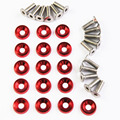 16 PC Red Billet Aluminum Fender/Bumper Washer Bolt Engine Bay Dress Up Kit