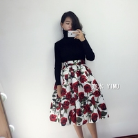 50s Vintage Summer Woman Skirts Retro Red Rose Flower Bouquet Floral Print High Waist Mid Calf