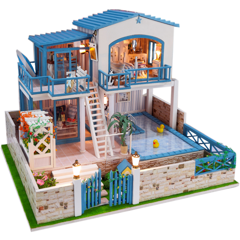 13829 Hongda Large Diy Wooden Dollhouse Miniature Villa Doll House