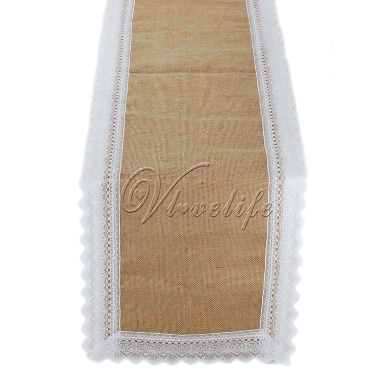 1piece 39cmx275cm Delicate Table Runner Natural Hessian Burlap Jute White Lace Embroidery Linen Party Wedding Home Rustic Decor