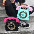 Engraçado personalidade fashion telefone forma letras das senhoras pu bolsa de couro cadeia saco de retalhos de ombro crossbody saco do mensageiro da bolsa