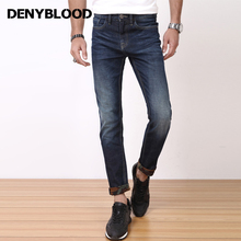 Denyblood Jeans Mens Stretch Denim Slim Straight Pants Distressed Jeans Ripped Inside Printed High Quality Fashion