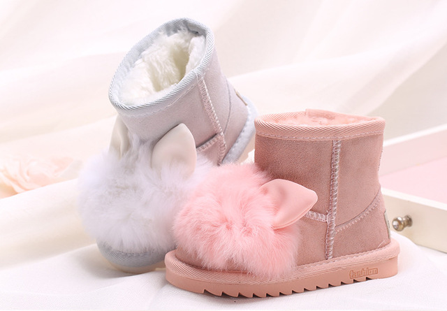 0334df26eb66c Princess Girls Boots Winter Shoes Kids Rabbit Ankle Snow Boots For Girl  Toddler Leather Boots With