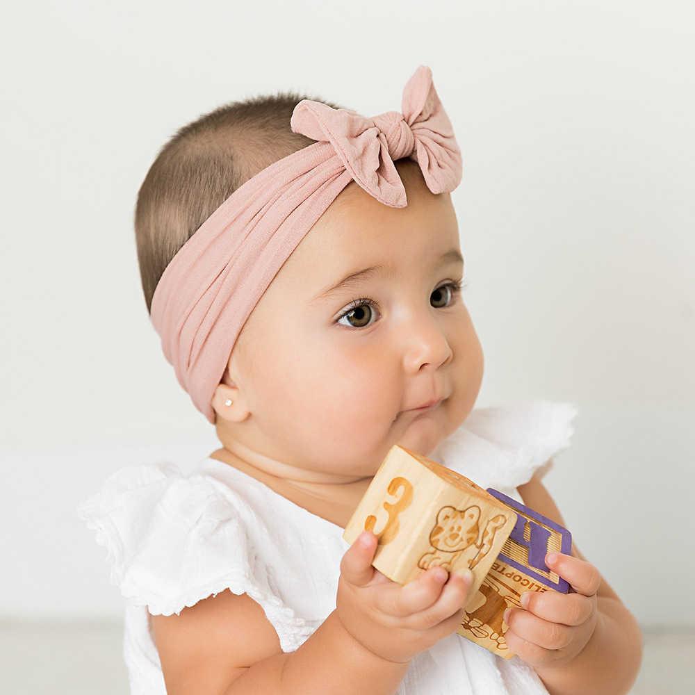 2019 เด็กใหม่ไนลอน Headband กระต่ายกระต่ายกระต่ายกระต่ายกระต่ายนุ่ม Bowknot Turban สำหรับผมเด็กหญิง Elastic Headwrap อุปกรณ์เสริมผม