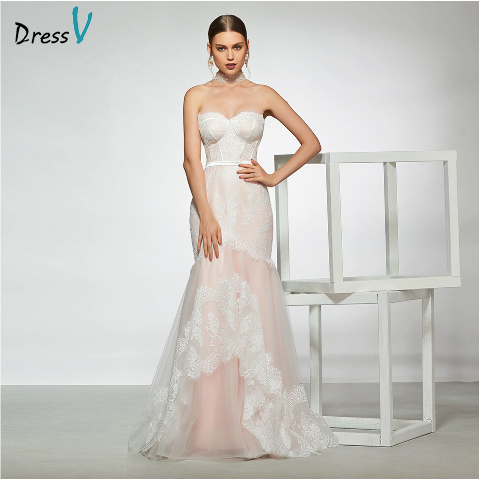 Dressv elegant sample sweetheart neck trumpet lace wedding dress sleeveless floor length simple bridal gowns wedding dress
