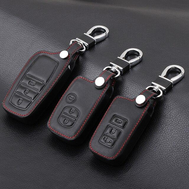 עור אמיתי שלט רחוק רכב Keychain מפתח כיסוי מקרה עבור טויוטה קאמרי כתר RAV4 קורולה פראדו פריוס 3 לחצנים חכמים מפתח