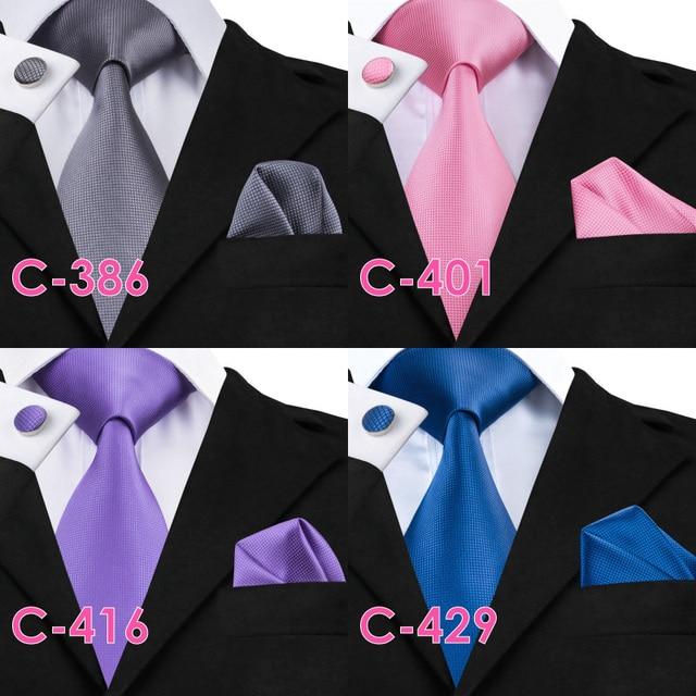 Solid Silk Mens Ties Neck Tie Set for Men Suits Tie Handkerchief Cufflinks Gravatas Ties for Men Wedding Vestidos Corbatas 4