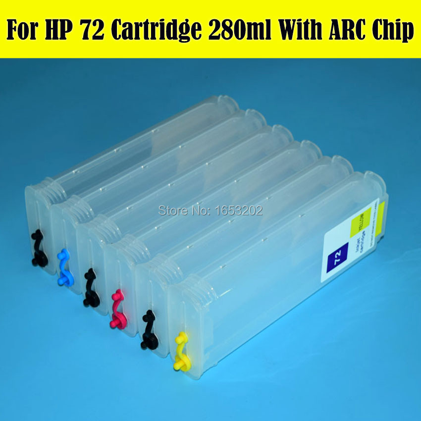 280ML With Auto Reset Chip Refill Ink Cartridge For HP HP72 72 Designjet T620 T2300 T770 T790 T1200 C9403A C9370A-C9374A
