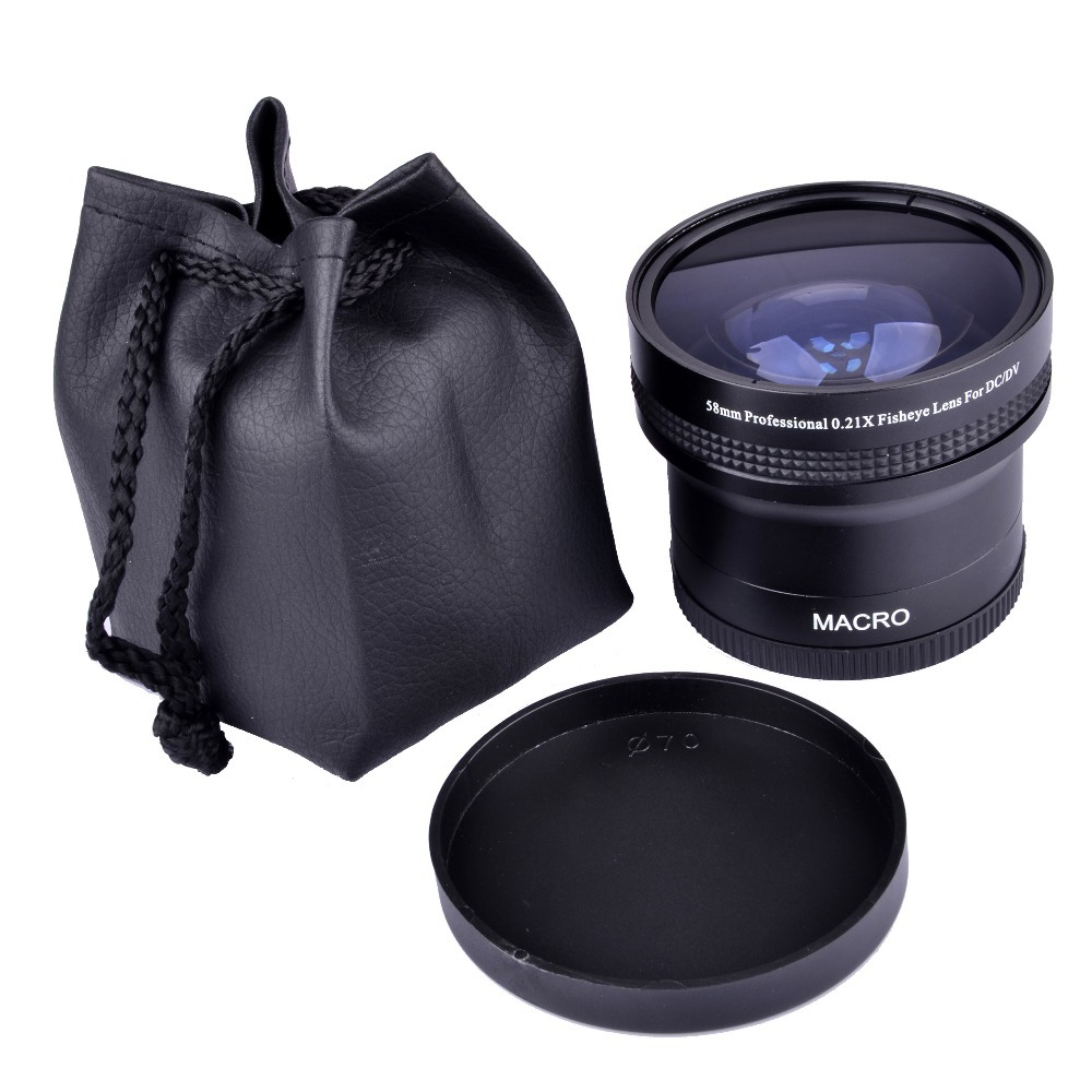 Super 0.21x 58mm HD Professional Fisheye Macro Wide Angle Camera Lens filters for Nikon Canon EOS 700D 650D 600D 550D 50D18-55mm недорого