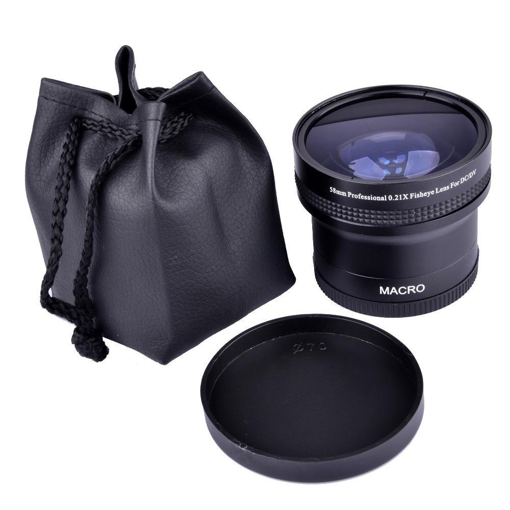 Super 0.21x58mm HD Professionnel Fisheye Macro Grand Angle Caméra lentille filtres pour Nikon Canon EOS 700D 650D 600D 550D 50D18-55mm