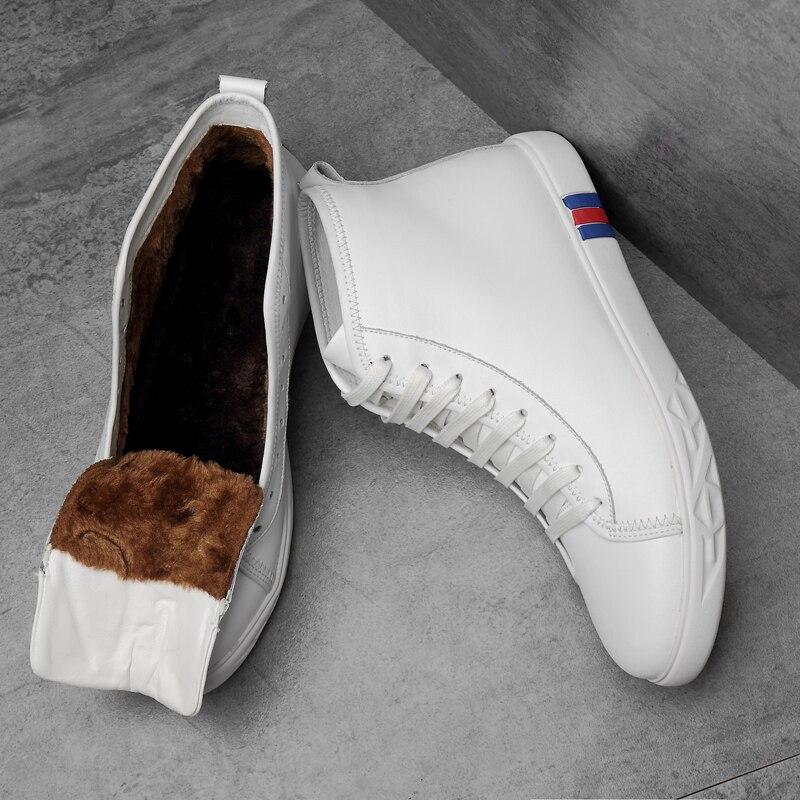 Fur white Plus Fur White Véritable Sneakers Roulettes Lacets À Taille En Formateurs black Mode Haute 38 Doux black Peluche Top Chaussures Chaud Cuir 46 Planche Hommes La Casual wqpF5Txf4