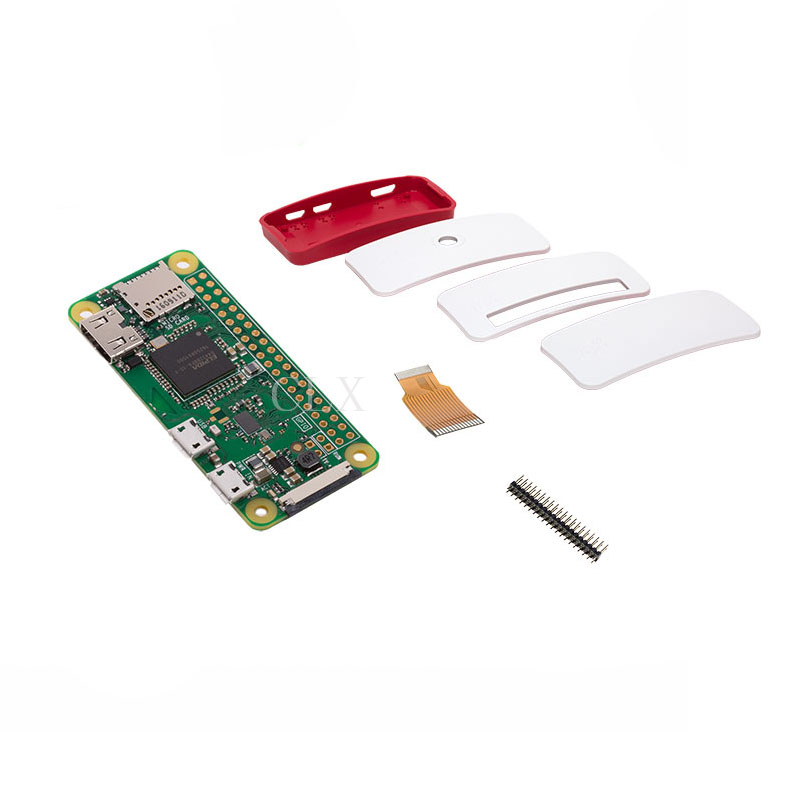Raspberry Pi Zero W Starter Kit Pi Zero W Board + Official Case + 40 pin Header for Pi 0 W offical raspberry pi zero w case abs box cover shell rpi zero enclosure cases box for raspberry pi zero w