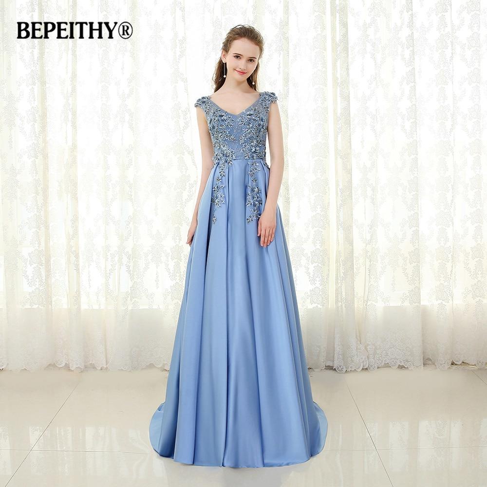BEPEITHY Blue Lace Long Evening Dress V neck Vestido De Festa 2019 Custom Made Elegant Beaded Prom Gowns Robe De Soiree