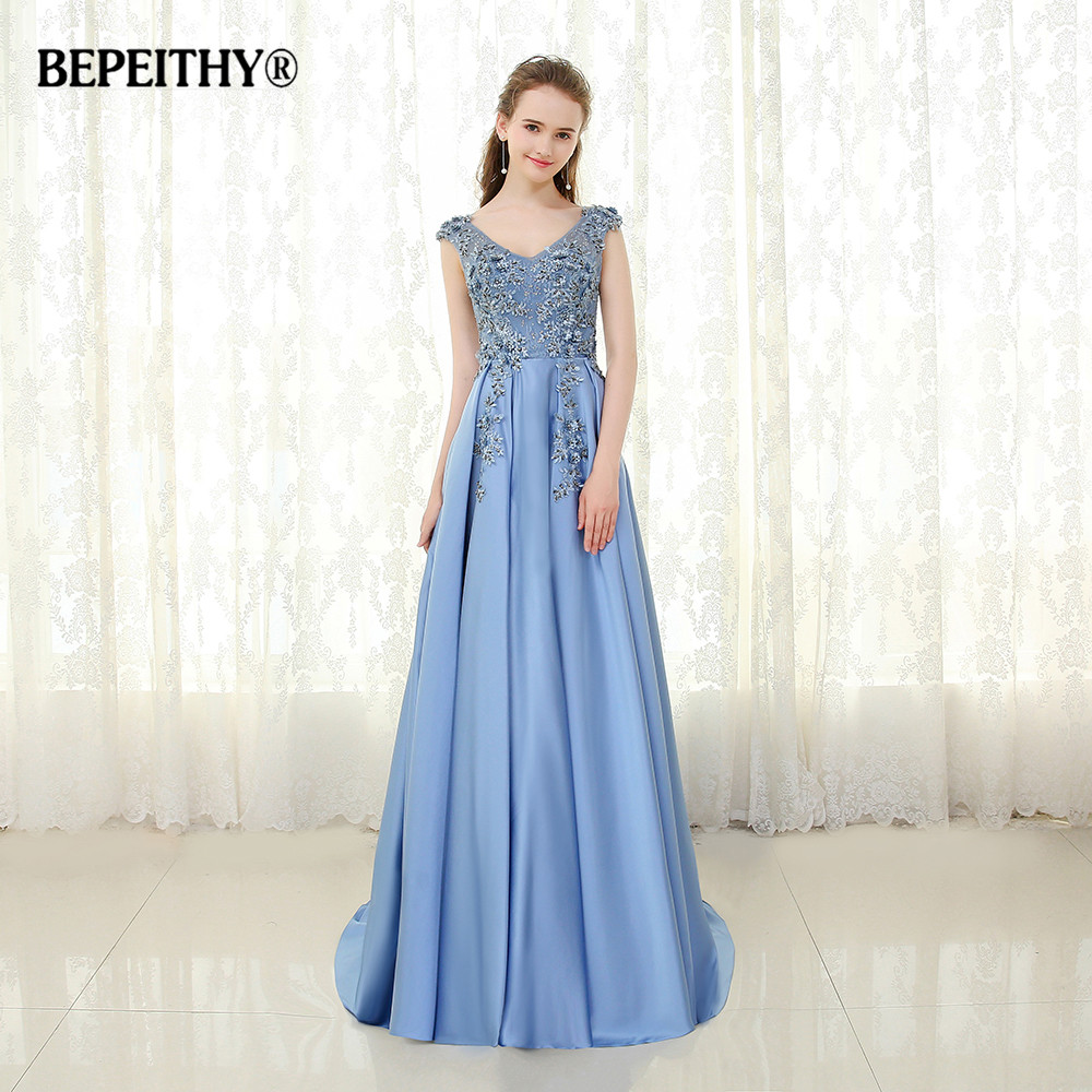 BEPEITHY Blue Lace Long   Evening     Dress   V neck Vestido De Festa 2019 Custom Made Elegant Beaded Prom Gowns Robe De Soiree