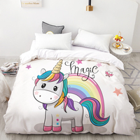 3D HD Digital Printing Custom Duvet Cover,Kids Child baby Quilt/Blanket case Queen Cartoon Bedding,Bedclothes Cute Stars Unicorn