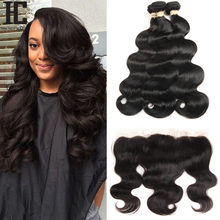 HC Brazilian Body Wave With Frontal Ear To Ear Lace Frontal Closure With Bundles Non Remy Human Hair Weave 3 Bundle With Frontal(China)
