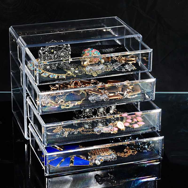Cysincos Transparent Acrylic Storage Drawer Makeup Organizer Table Jewelry Cosmetic Storage Box Home Sundries Storage Holder Box