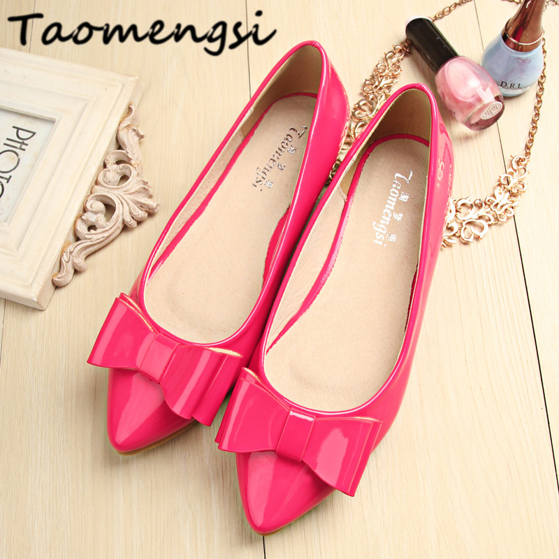 Taomengsi 2017 Women's Flats shoes leather Fashion candy color pointed Toe bowknot comfortable/BIG SIZE 33-43 Women casual shoes new listing pointed toe women flats high quality soft leather ladies fashion fashionable comfortable bowknot flat shoes woman