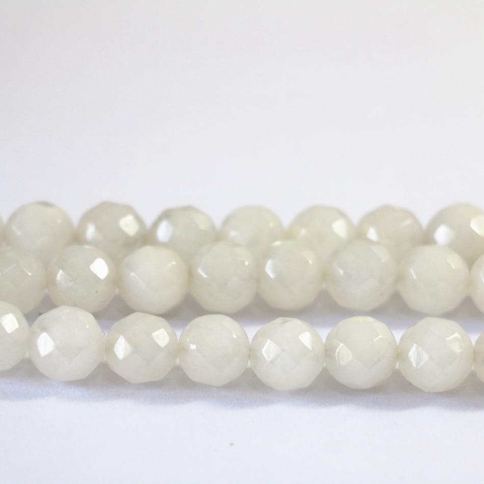 Белый халцедон нефриты 4 мм 6 мм 8 мм 10 мм 12 мм натуральный камень полудрагоценный DIY граненый круглый Loose бусы украшения 15 дюймов B13