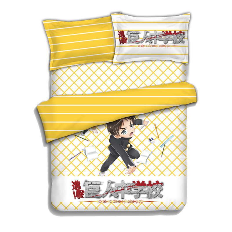 Japanese Anime Attack on Titan Eren Jaeger Bed sheets Bedding Sheet Bedding Sets Bedcover Quilt Cover Pillow Case 4PCS in Bedding Sets from Home Garden