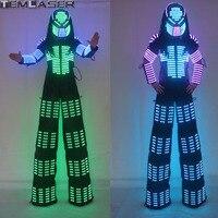 New Arrivals LED Robot Costume, David Guetta LED Robot Suit, Laser robot jacket Rangers Stilts Clothes Luminous Costumes