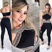 High Quality Black Bandage Jumpsuit Women Sleeveless Bodycon Full Length Jumpsuit Bling Beading Celebrity Evening Party Jumpsuit