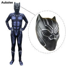 2018 Movie Black Panther Adult Marvel Superhero Cosplay Halloween Carnival Party Costume Mens 3D Black Panther Latex Masks цена