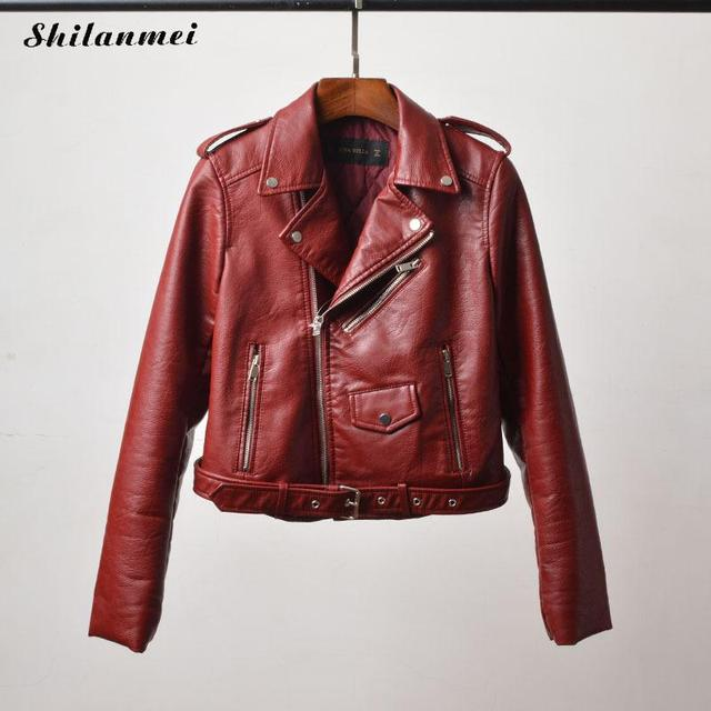100% authentic search for official retail prices US $37.13 25% OFF|2019 Fashion Pu Leather Jacket Women Fashion Burgundy  Black Motorcycle Coat Short Faux Leather Biker Jacket Soft Jacket Female-in  ...