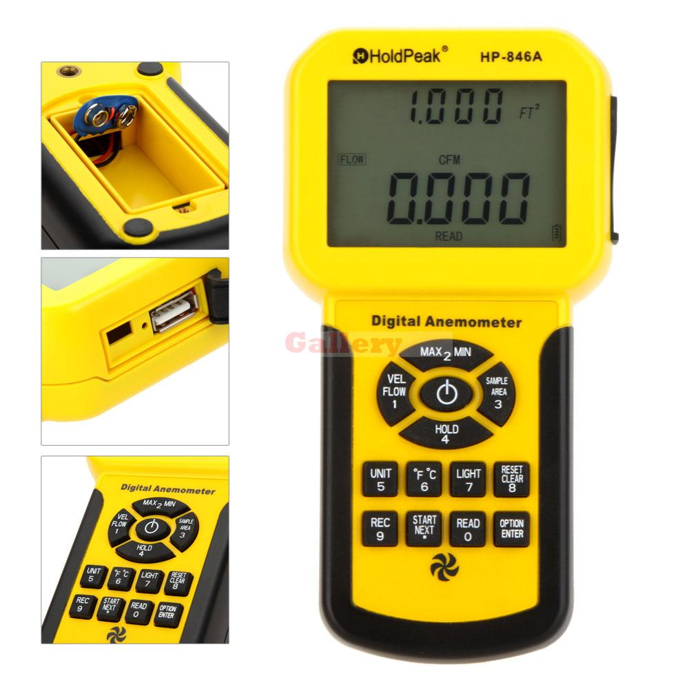 Holdpeak Hp-846a Digital Anemometer Wind Speed Air Flow Temperature Meter Tester Sensor Thermometer free shipping gm8901 45m s 88mph lcd digital hand held wind speed gauge meter measure anemometer thermometer